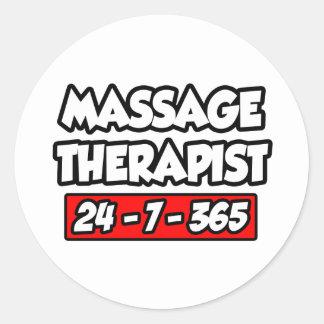Sticker Rond Thérapeute de massage 24-7-365