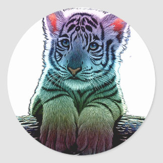 Sticker Rond tigre multi colors