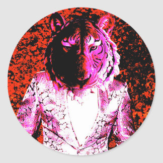 Sticker Rond Tigre Trippy