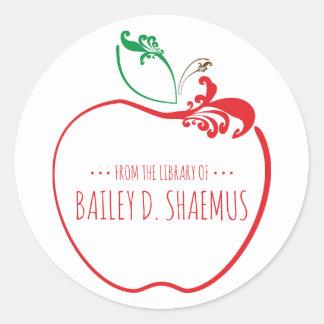 Sticker Rond timbre de pomme de flourish de livre de