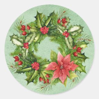 Sticker Rond Timbre-poste de guirlande de Noël