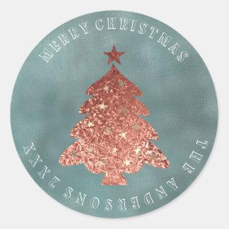 Sticker Rond Toile d'or de rose de gris d'arbre de Joyeux Noël