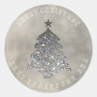 Sticker Rond Toile ene ivoire grise d'or d'arbre de Joyeux Noël