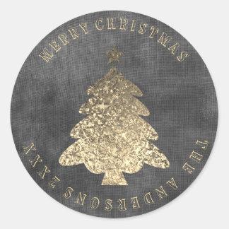 Sticker Rond Toile noire grise d'or d'arbre de Joyeux Noël sale