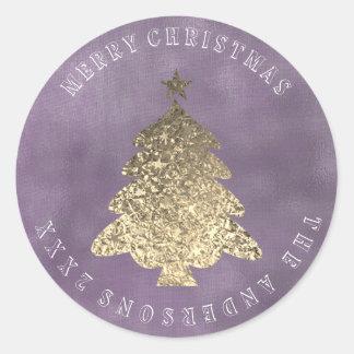 Sticker Rond Toile pourpre grise d'or d'arbre de Joyeux Noël