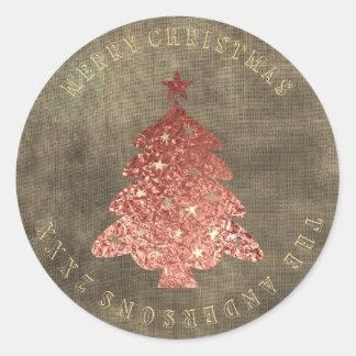 Sticker Rond Toile rose d'or d'arbre de Joyeux Noël sale