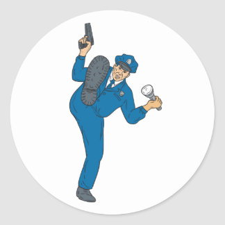 Sticker Rond Torche de lampe-torche d'arme à feu de policier