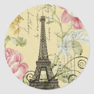 Sticker Rond Tour Eiffel vintage floral Girly moderne de Paris