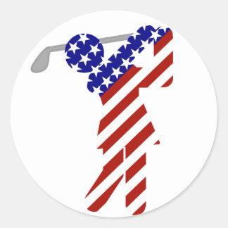 Sticker Rond Tout le golfeur américain de femme