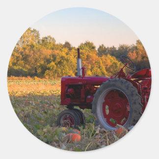 Sticker Rond Tracteur dans un domaine de citrouille