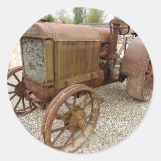 Sticker Rond Tracteur vintage rouillé