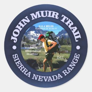 Sticker Rond Traînée de John Muir (randonneur C)