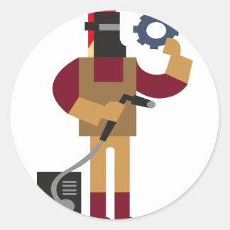 Sticker Rond Travailleur en métal