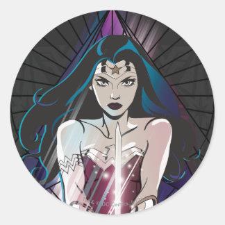 Sticker Rond Triangle de tribal de femme de merveille