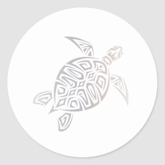 Sticker Rond Tribal animal blanc beige de tortue de mer