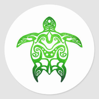 Sticker Rond Tribal de tortue de mer verte