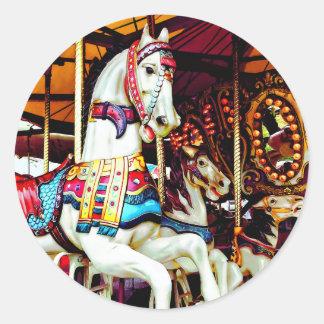 Sticker Rond Trois chevaux de carrousel