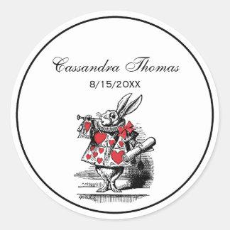 Sticker Rond Trompettiste blanc Alice de cour de lapin au pays