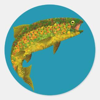 Sticker Rond Truite arc-en-ciel de feuille d'Aspen 3