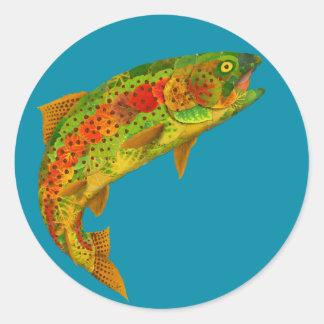 Sticker Rond Truite arc-en-ciel de feuille d'Aspen 5