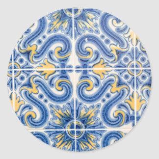 Sticker Rond Tuile bleue et jaune, Portugal