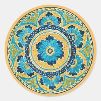 Sticker Rond Tuile mexicaine florale bleue