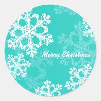 Sticker Rond Turquoise mignonne et flocons de neige de Noël