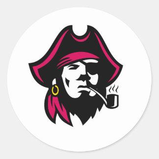 Sticker Rond Tuyau de tabagisme de Buccaneer rétro