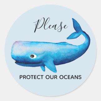 Sticker Rond Typographie de mer de baleine d'aquarelle de