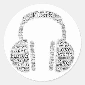 Sticker Rond Typographie d'écouteur