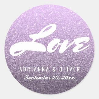 Sticker Rond Typographie lunatique d'amour de mariage de