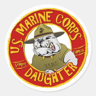 Sticker Rond U.S. Fille de Marine Corps