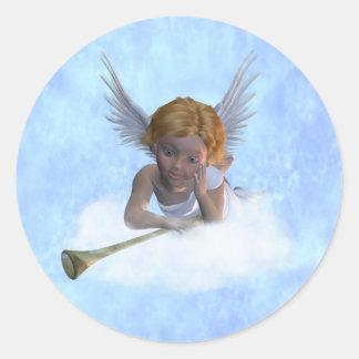 Sticker Rond Un ange de chérubin doux