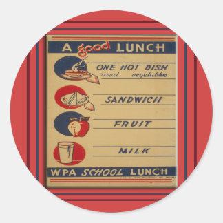 Sticker Rond Un bon repas scolaire