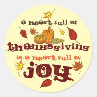 Sticker Rond Un coeur complètement de thanksgiving