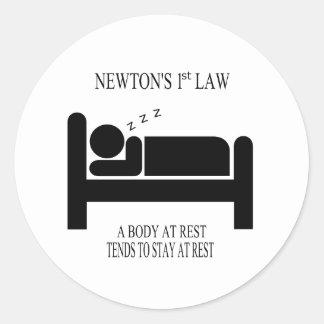 Sticker Rond Un corps tend au repos à rester au repos la loi de