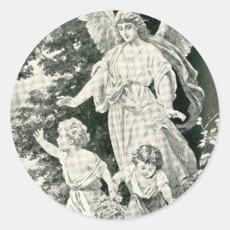Sticker Rond ~ un ~ de peinture d'ange gardien de Noël