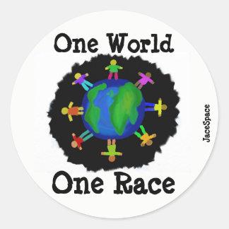 Sticker Rond Un monde, une course