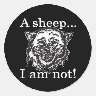 Sticker Rond Un mouton, je ne suis pas