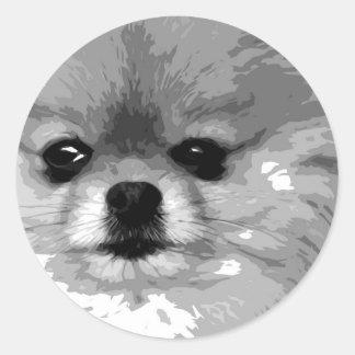 Sticker Rond Un Pomeranian noir et blanc