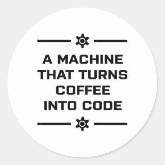 Sticker Rond Une machine qui transforme le café en code