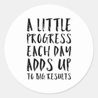 Sticker Rond Une peu de citation de motivation de progrès