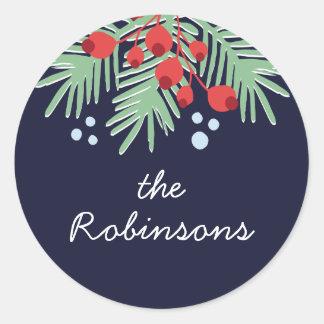 Sticker Rond Vacances colorées de Botanicals | d'hiver