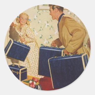 Sticker Rond Vacances de famille vintages, valises d'enfants de