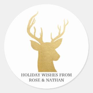 Sticker Rond Vacances de la feuille d'or | de Faux du renne |