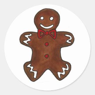 Sticker Rond Vacances d'épice de sucre de Noël de bonhomme en