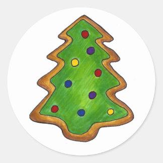 Sticker Rond Vacances givrées par vert de biscuit de sucre