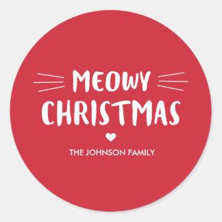 Sticker Rond Vacances mignonnes de chat de Noël | de Meowy