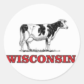 Sticker Rond vache rouge au Wisconsin