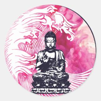 Sticker Rond Vague de Bouddha d'ouragan